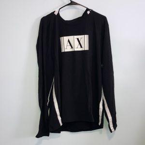 A/X Armani Exchange Black Hoodie W/White Stripes